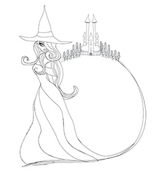 Halloween witch - doodle frame vector