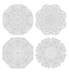 hand drawn zentangle set of 4 mandalas for vector image
