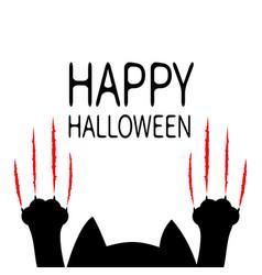 Happy halloween cartoon black cat paw print head vector