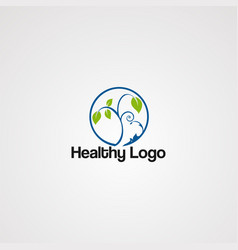 healthy green logo icon element and template vector image