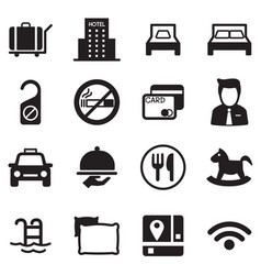 Icons for hostels and hotels set silhouette vector