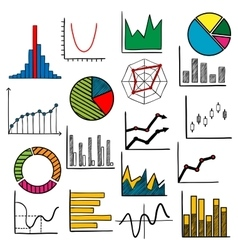 Infographic charts or graphs icons vector image