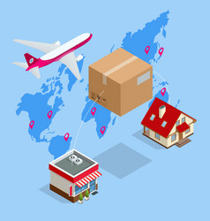 isometric delivery air service global logistic vector image