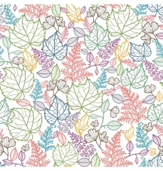 Line Art Leaves Seamless Pattern Background vector