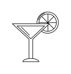Line delicious cocktail with slice of lemon to vector