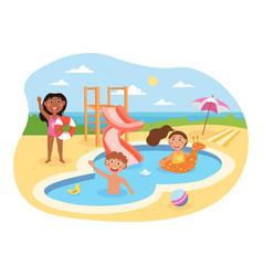 little happy kids are having fun in aquapark vector image