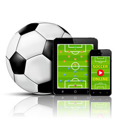 live soccer online on mobile phone and tablet with vector image