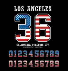 los angeles set number textured flag america vector image