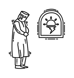 Maghrib prayer icon doodle hand drawn or outline vector