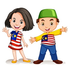 Malaysian girl and boy greeting vector
