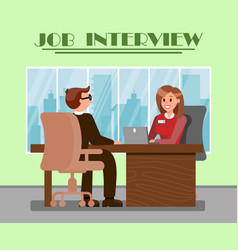 Man at job interview flat vector