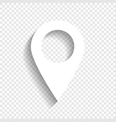 Mark pointer sign white icon with soft vector