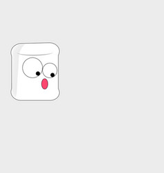 Marshmallow cartoon with big surprise looks down vector