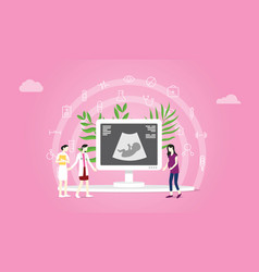 maternity or pregnancy concept with doctor and vector image