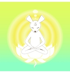 Meditating mouse in lotus vector