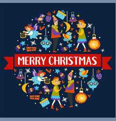 merry christmas winter holidays symbols and icons vector image