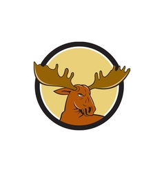 Moose Head Circle Cartoon vector