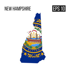 new hampshire map border with flag eps10 vector image