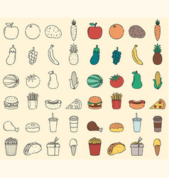 organic food and fast food icons food and drink vector image