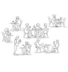 people sitting in cafe vector image