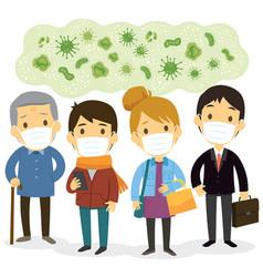 people wearing face masks against viruses vector image