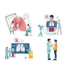 Pulmonology or respiratory medicine icon set vector