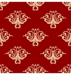 Red on beige floral seamless pattern vector image