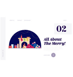 Relaxed christmas leisure website landing page vector