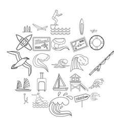 river rest icons set outline style vector image