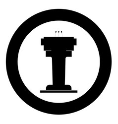 Rostrum with three microphone icon black color in vector