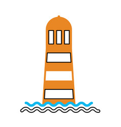 Sea lighthouse isolated icon vector