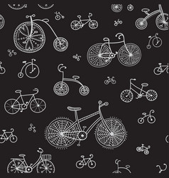 Seamless pattern with ethnic style bikes vector
