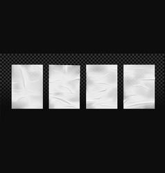 set isolated white glued wrinkled paper vector image