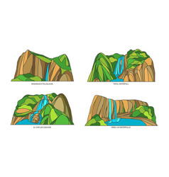set mexico sights mexican nature landscape vector image