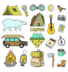 Set of cute camping elements equipment in forest vector