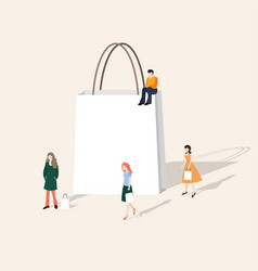 set of people walking and shopping blank paper vector image