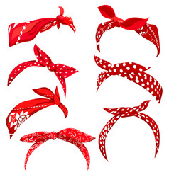 set retro headband for woman collection red vector image