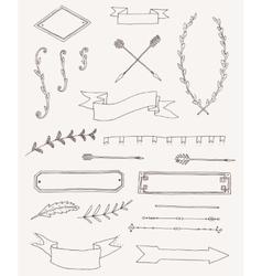 set vintage design elements decoration vector image
