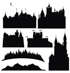 Silhouettes castles and elements for design vector