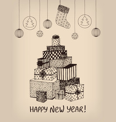 sketch of new year presents and gifts in shape of vector image