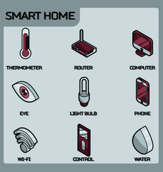 Smart home color outline isometric icons vector