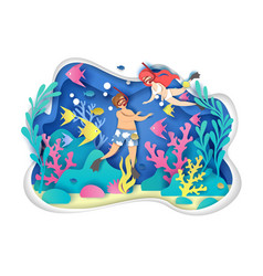 snorkeling concept for web banner website vector image