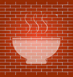 soup sign whitish icon on brick wall as vector image