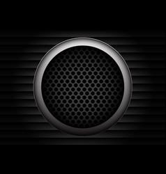 speaker gray circle mesh on shutters dark design vector image