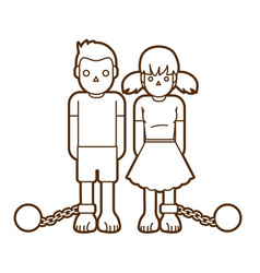 Stop child abuse children with chain and ball vector