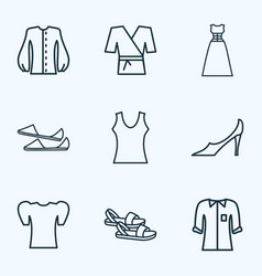 style icons line style set with flat shoes pump vector image