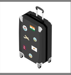 suitcase a traveler with travel stickers vector image