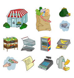 Supermarket and equipment cartoon icons in set vector