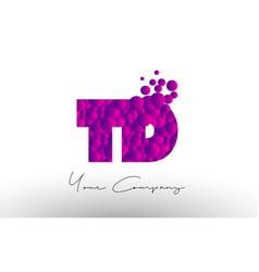 Td t d dots letter logo with purple bubbles vector