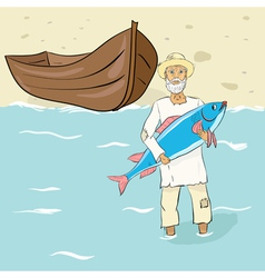 The old fisherman with fish ashore vector image